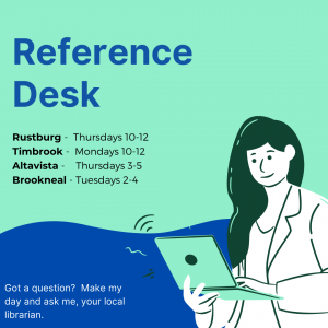 graphic promoting reference desk hours at each library branch