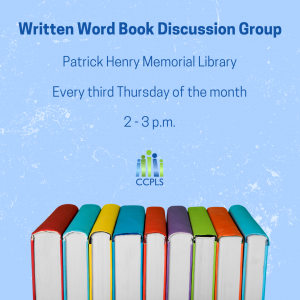 graphic promoting Written Word Book Discussion Group at Patrick Henry