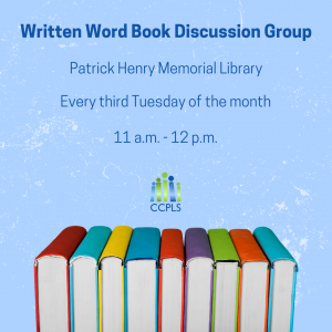graphic promoting Written Word Book Discussion Group