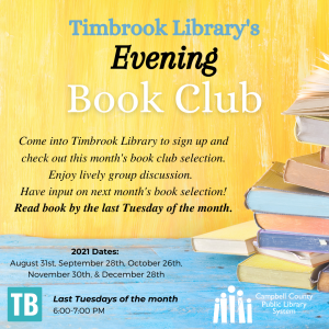 graphic promoting Timbrook Library's Evening Book Club