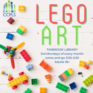 graphic promoting LEGO art