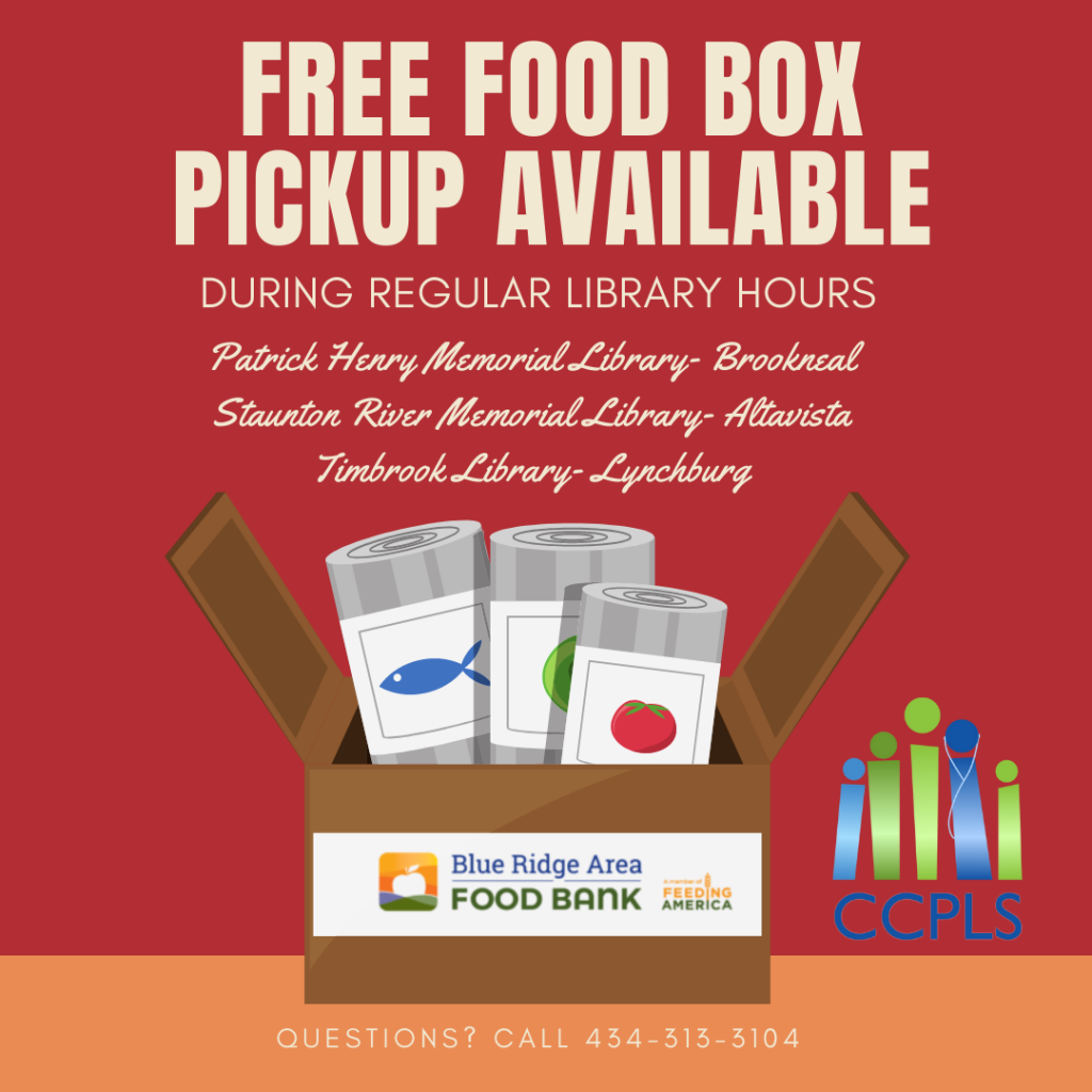 Free food box pickup available during regular library hours- PHML, SRML, and TB