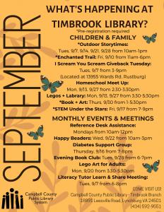 Timbrook September 2021 Events