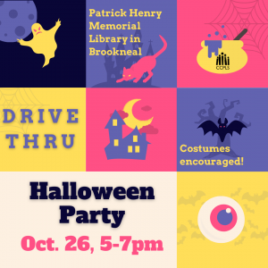 Drive Thru Halloween Party October 26, 5-7pm